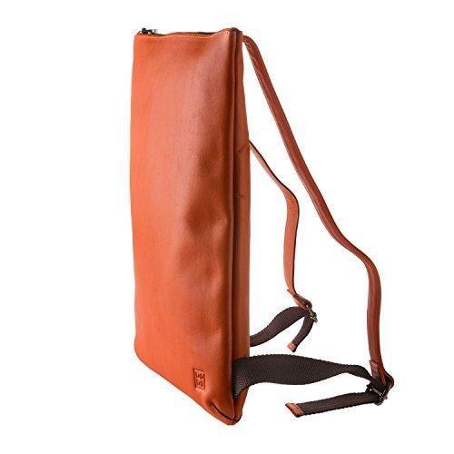 DUDU Mochilas Hombre Mujer Elegante de Verdadera Piel suave con Cremallera Zip Naranja