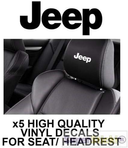 SUPERSTICKI 5X Jeep Logo Schriftzug Kopfst/ützen Aufkleber f/ür Kopfst/ütze Sitze Handschufach Lack Tuningsticker Decal Decals geplottet Hochleistungsfolie oder Scheibe Headrest 12cm