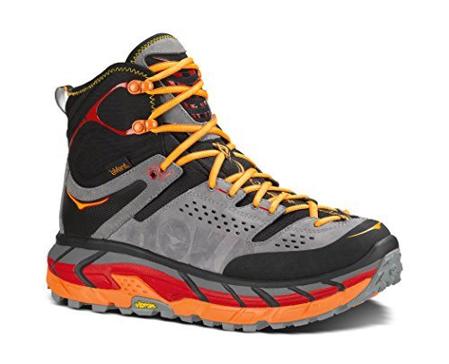 HOKA ONE ONE Tor Ultra Hi WP Hiking Boot Sneaker Shoe - Black/Flame - Mens - 8.5