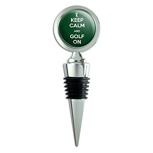 Keep Calm And Golf On Golfer Symbol Wine Bottle Stopper
