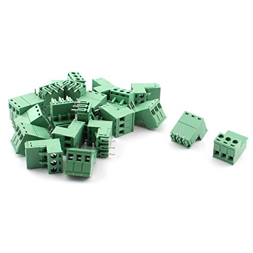 uxcell 20 Pcs 5.08mm 3 Way PCB Mount Screw Terminal Block for 14-22AWG Wire (3 Pin Terminal Block)