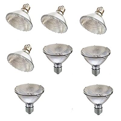 NEW and IMPROVED SleekLighting Halogen 60W(75W replacement) Par30, Short Neck, Narrow Flood Bulb (30 Degrees), E26 Base, 110-130v, 2750k - 1100 Lumens, Pack of 8