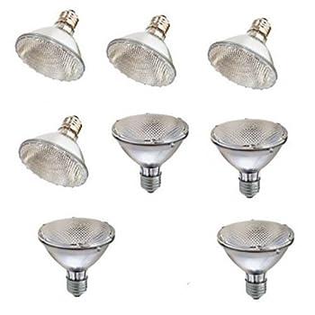 SleekLighting Halogen 60Watt(75W replacement) Par30, Short Neck, Wide Flood Bulb (45 Degrees), E26 Base, 110-130v, 2750k - 1100 Lumens, Pack of 8 …