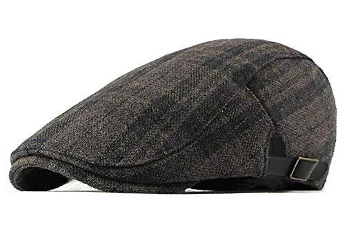 (Qunson Men's Warm Wool Tweed Newsboy Flat Cap Ivy Cabbie Winter Hat)