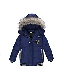 Kids Winter Coats Hooded Thick Coat Jacket Toddler Baby Boys Cotton Filling Outwear Clothes (5T, Navy)