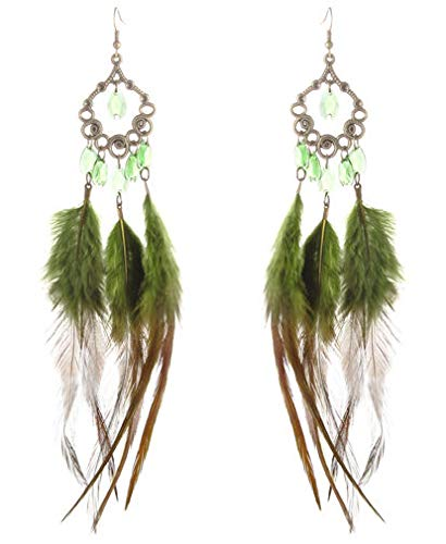 - 1 Pair Army Green Downy Feather Earrings Tear Bead Bronze Rhombus Dangle Jewelry