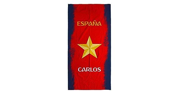 Lolapix - Toalla Selección Española personalizada de algodón España Azul. Mundial de Fútbol Rusia 2018. Toalla personalizada con tu foto, diseño o texto.