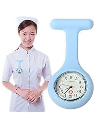 Tangyongjiao Relojes fashionalbe Enfermera portátil de Silicona, Reloj de Pulsera de Cuarzo Redondo con Pin (Blanco) (Color : Blue)