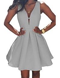 Women's V-Neck A-line Satin Homecoming Dress Short Formal...