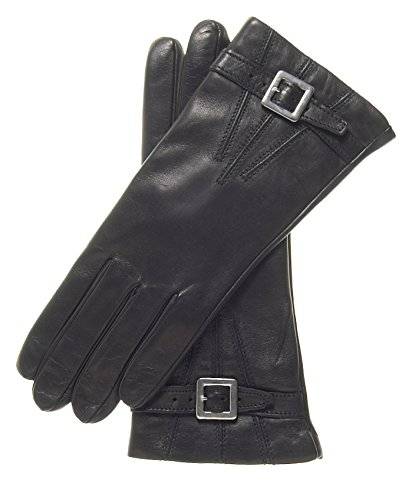 Fratelli Orsini Women's Italian Cashmere Lined Leather Gloves with Buckle Size 7 1/2 Color Black