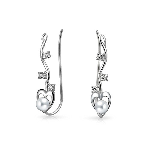 Heart White Freshwater Cultured Pearl Wire Ear Pin Climbers Earrings For Women Round Crawlers 925 Sterling Silver