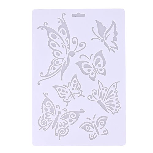 Whitelotous Plastic Cake Side Stencil Fondant Candy Chocolate Template Buttercream Spray Mould DIY Decorating Tools (Butterfly) (Butterfly Cookie Cakes)