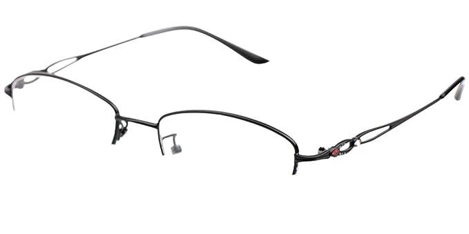 e3041f027fd5 SOOLALA Womens Stylish Reader Eyeglass Semi-rimless Exquisite Alloy Frame Reading  Glasses