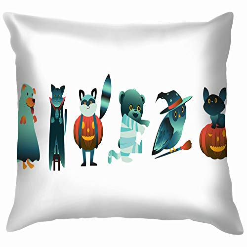 Cartoon Halloween Animal Characters Spooky Costumes Holidays Cotton Linen Home Decorative Throw Pillow Case Cushion Cover for Sofa Couch 22X22 Inch]()