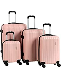 "Travel 4 Pieces ABS Luggage Sets Hardside Spinner Lightweight Durable Spinner Suitcase 16"" 20"" 24"" 28"", 4PCS Rose Gold"