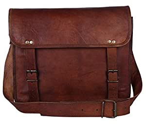 Leather Vintage Rustic Crossbody Messenger Courier Satchel Bag Gift Men Women ~ Business Work Briefcase Carry Laptop Computer Book Handmade Rugged & Distressed ~ Everyday Office College (13 Inch)