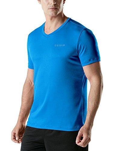 TM-MTS07-NBL_Medium TSLA Men's HyperDri Short Sleeve V-Neck T-Shirt Athletic Cool Running Top MTS07 - Ultimate V-neck Tee