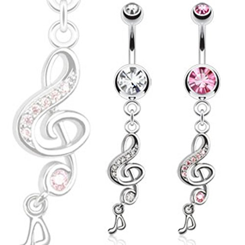 Freedom Fashion Treble Clef w/Gems & Music Note Dangle Navel Ring 316L Surgical Steel (Sold by Piece)