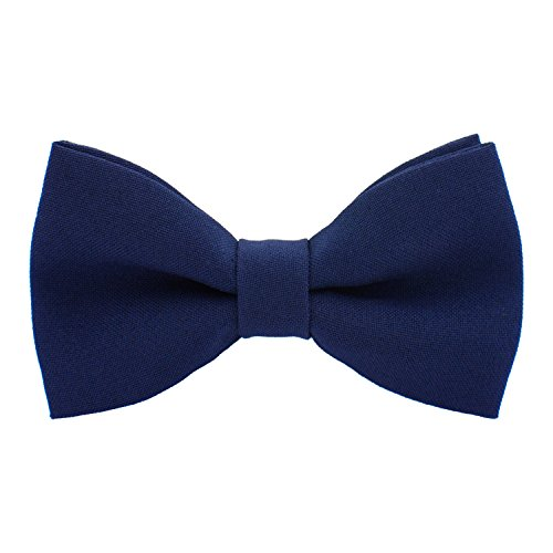 Classic Pre-Tied Bow Tie Formal Solid Tuxedo, by Bow Tie House (Large, Denim)