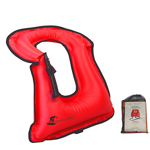 Kingswell Kids Inflatable Snorkel Vest Portable Life Vest Snorkeling Jacket Safety Swimming Bright Coloured Buoyancy Vest for Boys & Girls - Red ()