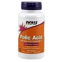 AHORA ácido fólico 800 mcg con tabletas de vitamina B-12,250