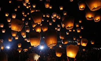 10 Pack of Natural White Wire-free Traditional ECO Sky Lanterns ...