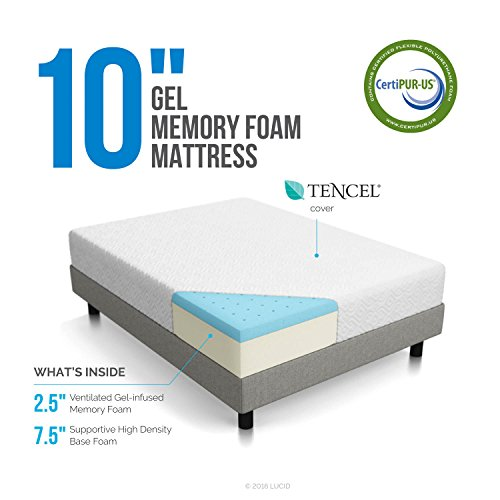LUCID 10 Inch Gel Memory Foam Mattress - Dual-Layered - CertiPUR-US Certified - 10-Year Warranty - Queen - bedroomdesign.us