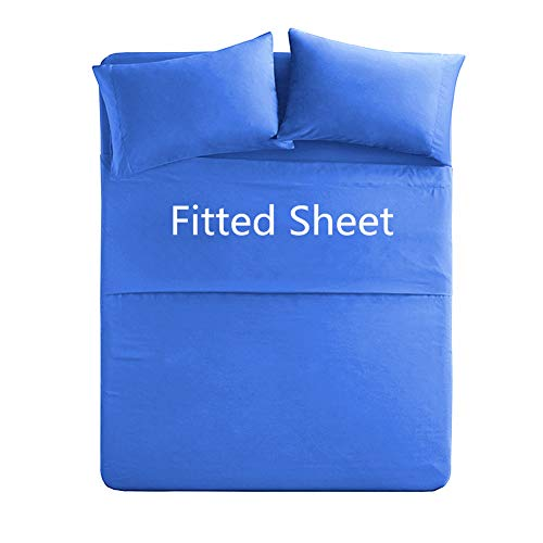 - King Size Cotton Fitted Sheet Only - 250 Thread Count Premium Cotton Fabric - Deep Pocket,Breathable,Soft - Machine Washable (King,Royal Blue)
