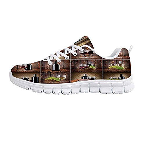 Wine Comfortable Sports Shoes,Wine Themed Collage on Wooden Backdrop with Grapes and Meat Rustic Country Drink Decorative for Men & Boys,US Size 11