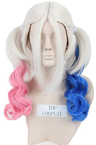 Topcosplay Women's Cosplay Wig Medium Length Curly Fiber Hair Blonde Blue Pink Mixed (Girl Joker Halloween Costume)