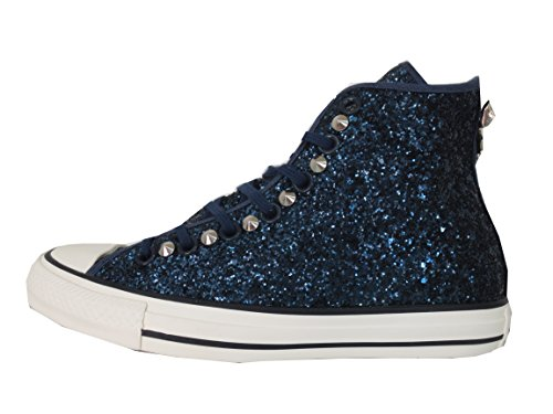 Converse all star Glitter blu borchie (prodotto artigianale )