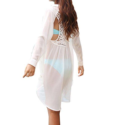 Bestyou® Women's Beachwear Lace Swimsuit Chiffon Tunic Cover up Button Shirtdress Top (White-B)