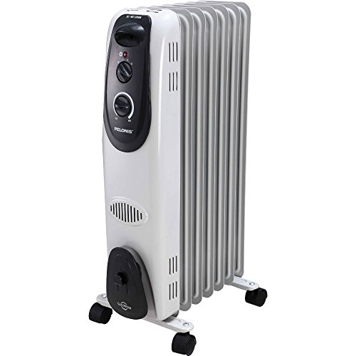 Pelonis Ultra Quite Safe Heat 1500W Electric Oil Filled Radiator Heater with Adjustable Thermostat and FREE Air Freshener, 0.67 Ounce