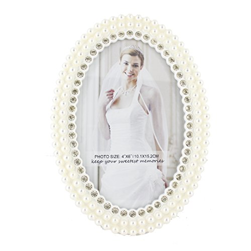 (4x6 Inches Ivory White Acrylic Oval Family/wedding Picture Photo Frame with Pearl and Crystal Decoration,with Glass Front)