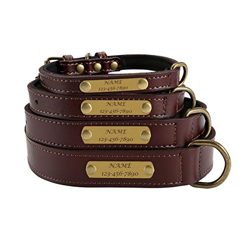 (Mogoko Soft Genuine Leather Custom Dog Collar, Personalized Puppy Pet Padded Collars with ID Name/Phone/Address Engraved Plate for Small Medium Large Dogs (M Size;Brown))