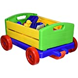 30 Piece Interlocking Building Block Multi Colored Brick Set with Buildable Rolling Wagon by Dimple