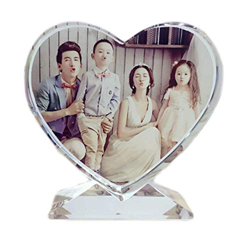 Personalized Crystal Glass Heart Shape Picture Frame Home Desk Decor Pet Dog Cat Photo Plate Memorial Plank, Custom Anniversary Christmas Birthday Baby Funny Gift for Her Him Women Men Mother Dad ()