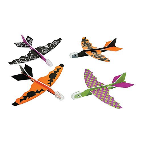 Fun Express Halloween Foam Glider Assortment Airplane Vehicle (Pack of 48) -