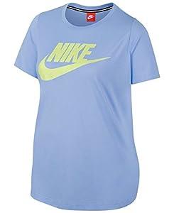 Nike Womens Plus Futura Fitness Short Sleeves T-Shirt Blue 2X