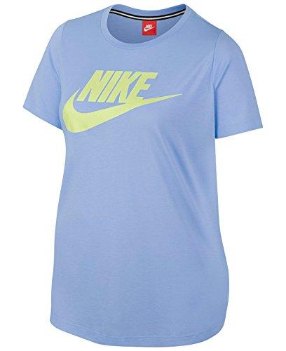 NIKE Sportswear Essential Women's Logo Short Sleeve Top (Dynamic Blue/Sonic Yellow, 1X) ()