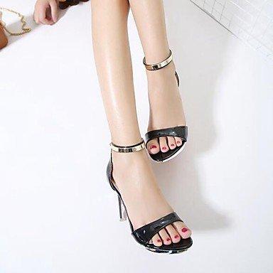 LvYuan Mujer-Tacón Stiletto-Confort Suelas con luz Zapatos del club-Sandalias-Vestido Informal Fiesta y Noche-Cuero Patentado-Negro Rojo Blanco Red