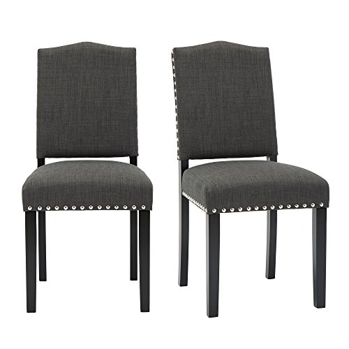Set of 2 Mod Urban Style Solid Wood Nailhead Fabric Padded Parson Chair, Charcoal Grey