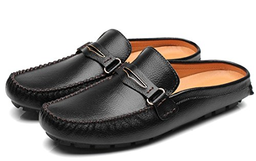 Driving Shoes TDA Men's Black Leather Contrast Slippers Loafers Stripe Ruched stitching qOA6xTYO