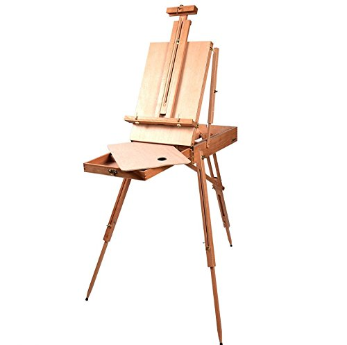 French Wooden Tabletop Easel Stand With Drawer Folding Portable Artist Painters Sketch Box Durable Tripod, Adjustable Height, Real Beech (Easy Homemade Costumes For Adults)