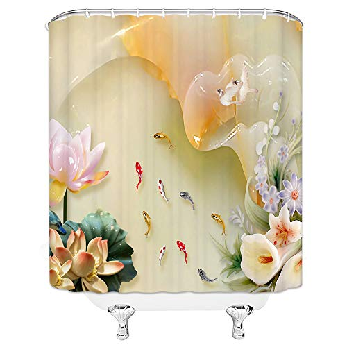qianliansheji Decorative Shower Curtain, Crystal Lotus Pond Goldfish Shower Curtain Set Calla Lily Green Leaf Shower Curtain Lining Non-Fading Waterproof Liner 70X70 with Hook