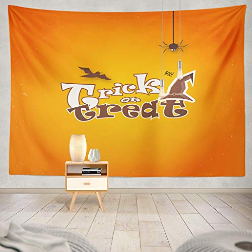 KJONG Happy Halloween Invitation with Hat and Orange Halloween Flyer Festival Dark Vintage Celebration Scary Decorative Tapestry,60X60 Inches Wall Hanging Tapestry for Bedroom Living Room -