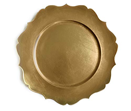 Tiger Chef 13-inch Gold Distressed Scalloped Rimmed Round Charger Plates, Melamine Plastic Dinner Chargers for Wedding Reception Table Place Settings Pack Of 96 ()