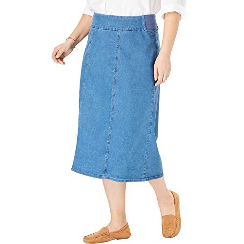Woman Within Women's Plus Size Smooth Waist A-Line Denim Skirt - Light Stonewash, 20 W