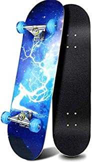 Complete Skateboards- Standard Skateboards with Colorful Flashing Wheels for Beginners Kids Boys Girls Teenage