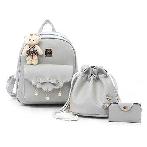 Fanshu - Bolso mochila para mujer, gris (Gris) - SB65 Gris